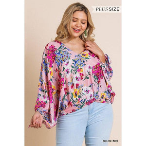 Curvy Blushing Floral Top