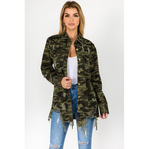 Curvy Camo Distressed Denim Shirt Jacket