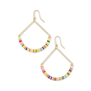 reece drop earring gold neon mix