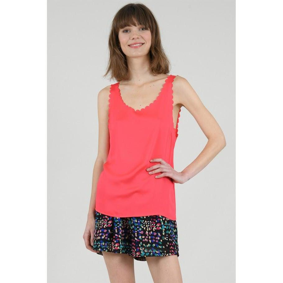 Red Coral Scallop Camisole