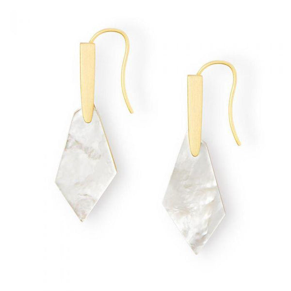 Kendra Scott Gianna Earrings in Mother of Pearl Ivory Gold