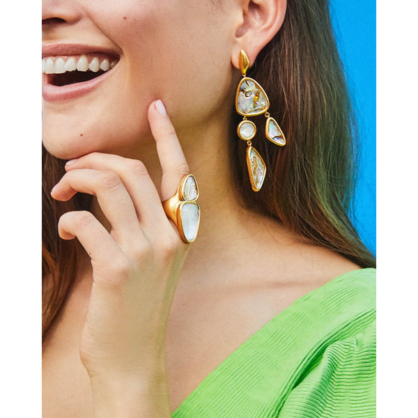 Margot Statement Earring in Vintage Gold White Abalone