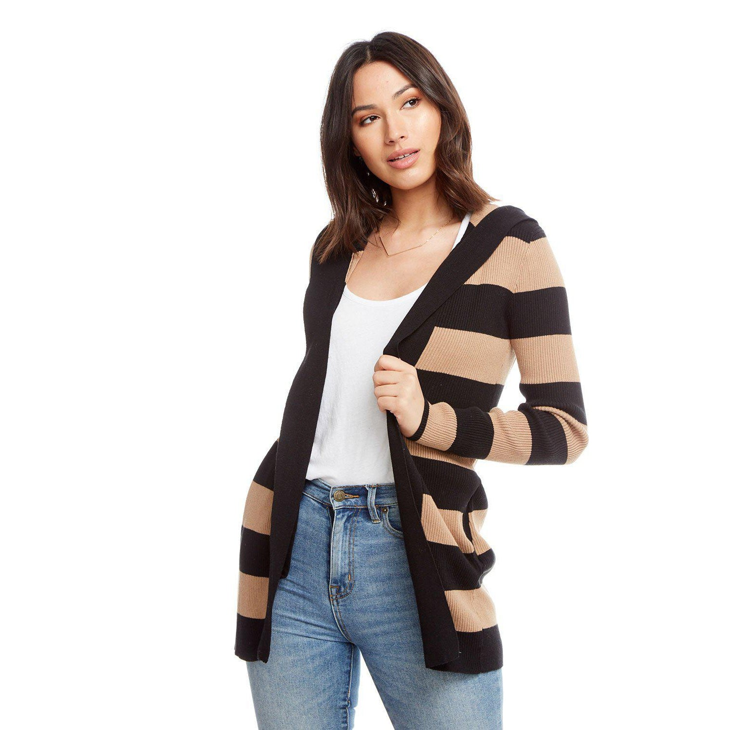 Terra Striped Hooded Cardigan