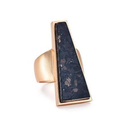 Collins Cocktail Ring size 7 in Rose Gold Black Granite