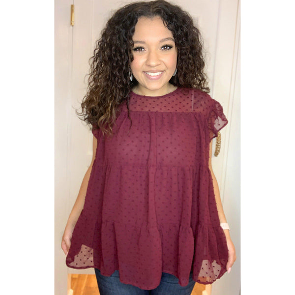 So Much Love Burgundy Top
