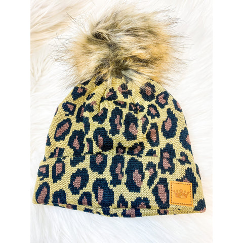 Kids Brown Leopard Pom Pom Hat