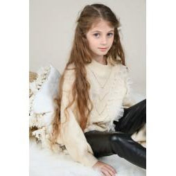 Girl's Off White Tulle Sweater