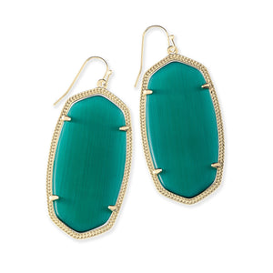KS Danielle Earrings in Emerald Cats Eye Gold