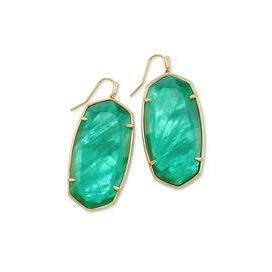 Faceted Danielle Earring Gold Jade Green Illusion