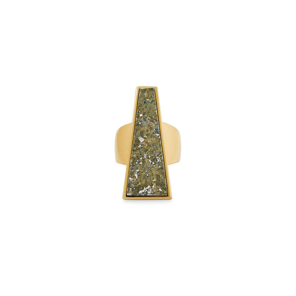 Collins Cocktail Ring size 6 in Vintage Gold Olive Epidote