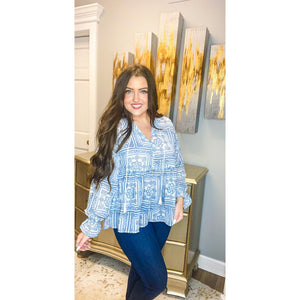Blue Tile Print Top