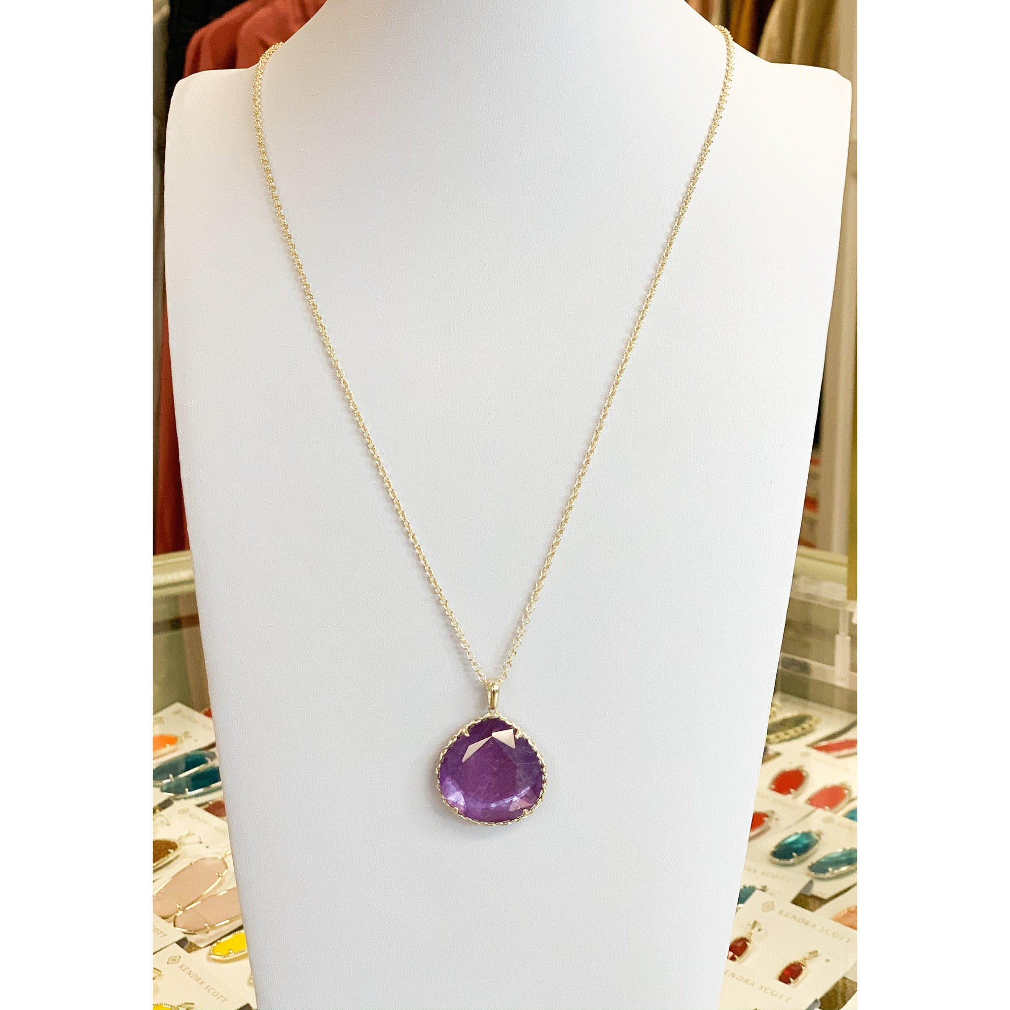 Kenzie Small Long Pendant Necklace in Gold Purple Mica