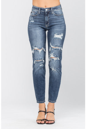 HI-RISE DISTRESSED BOYFRIEND JUDY BLUE'S-82156
