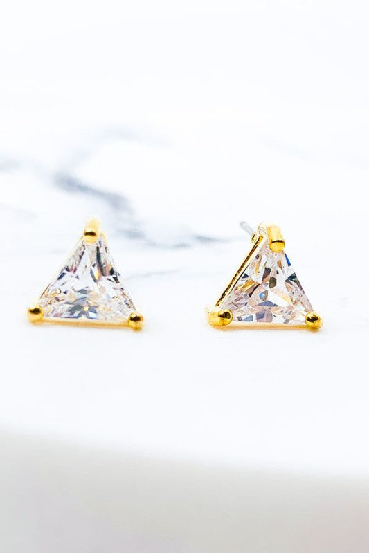 CUBIC TRIANGLE POST EARRINGS
