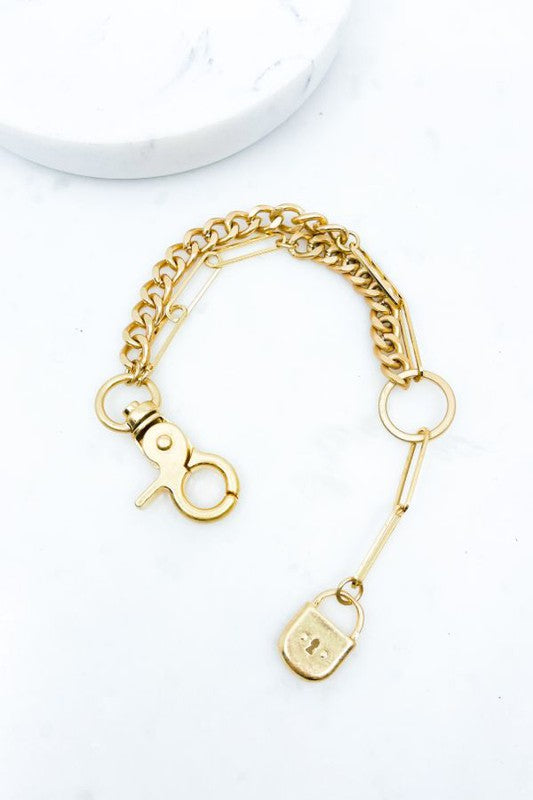 WORN CHAIN LOCK BRACELET