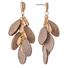 WOOD TIERED DROP EARRINGS