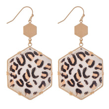 LEOPARD HEXAGON EARRINGS