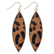 LEATHER LEOPARD DROP EARRINGS