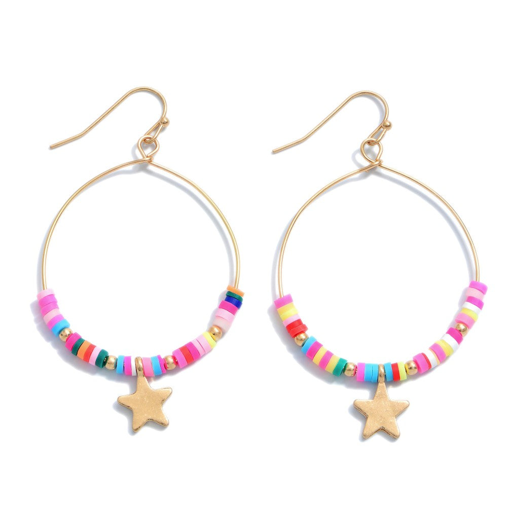 RUBBER BEADED STAR DROP EARRINGS