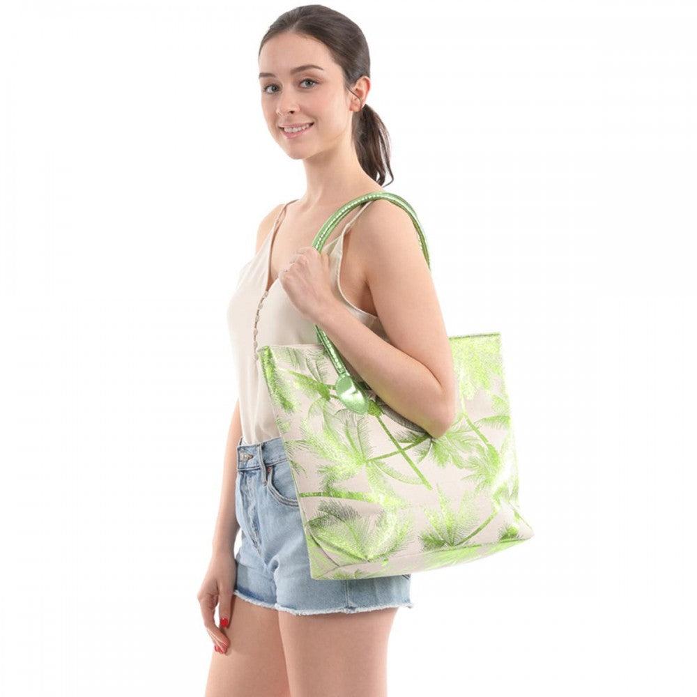 TROPICAL METALLIC TOTE BAG