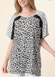Lace Stripe Animal Print Top