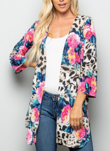 ANIMAL AND FLORAL PRINT OPEN CARDIGAN