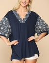 Embroidery Balloon Sleeve Tunic Top