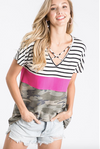 HEATHER TOP WITH CRISS CROSS NECK