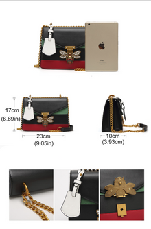 Rhinestone Bee Pu Leather Crossbody