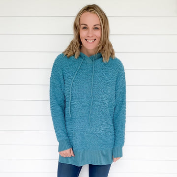 HOODED POPCORN SWEATER -DUSTY TEAL
