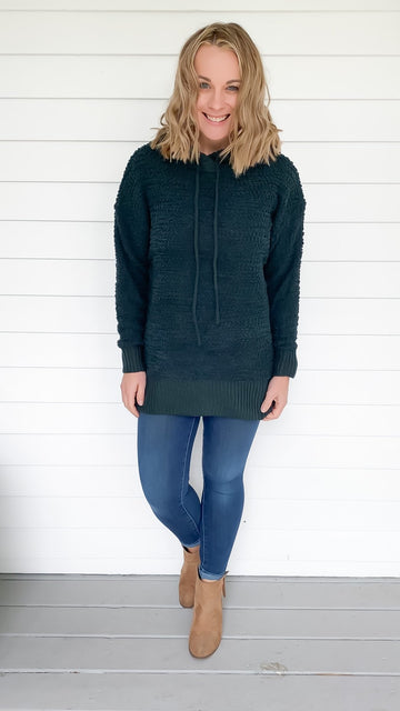 HOODED POPCORN SWEATER - HUNTER GREEN