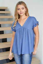 Ruffled Feathers In Blue Babydoll Top