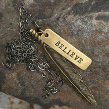 HAND STAMPED FEATHER NECKLACE