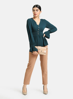 Peplum Top With Smocking At Waist