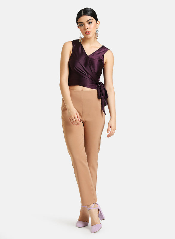 SATIN WRAP TOP WITH TIE KNOT