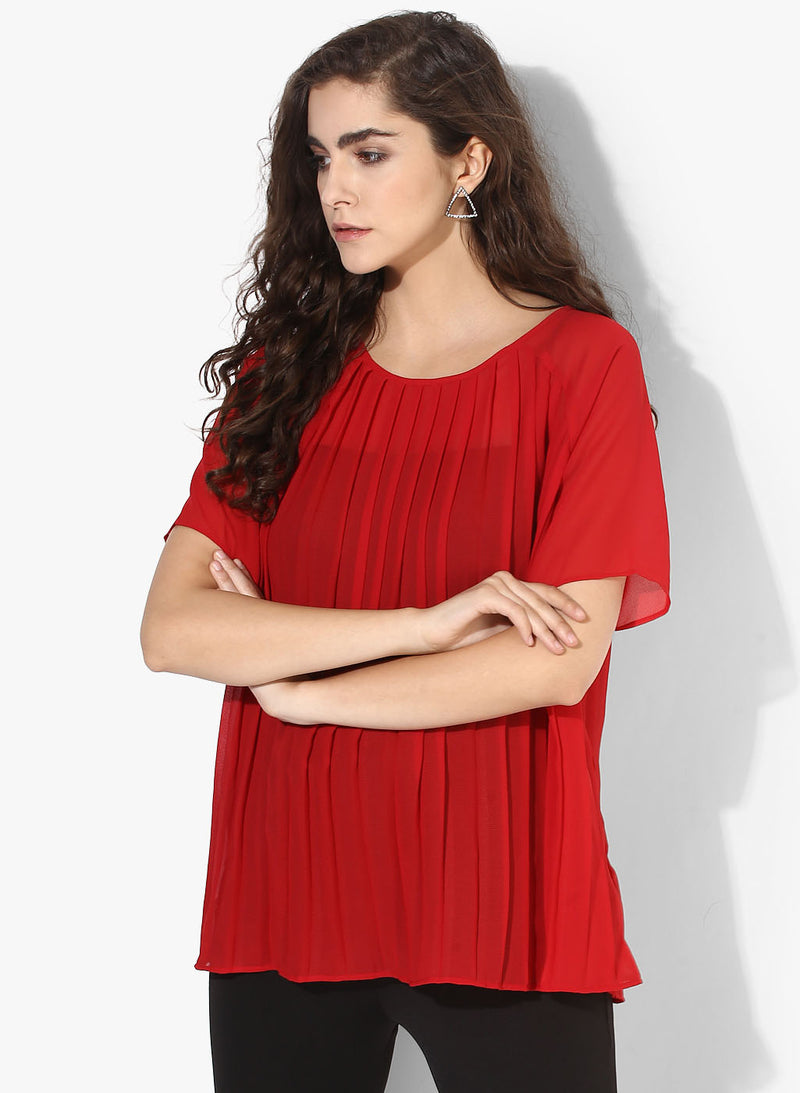Pleated Raglan Sleeves Top