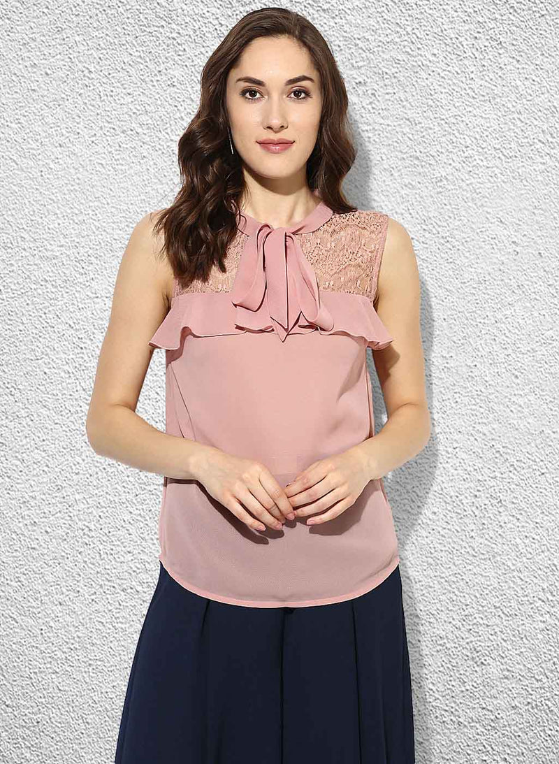 Top With Lace Yoke And Necktie