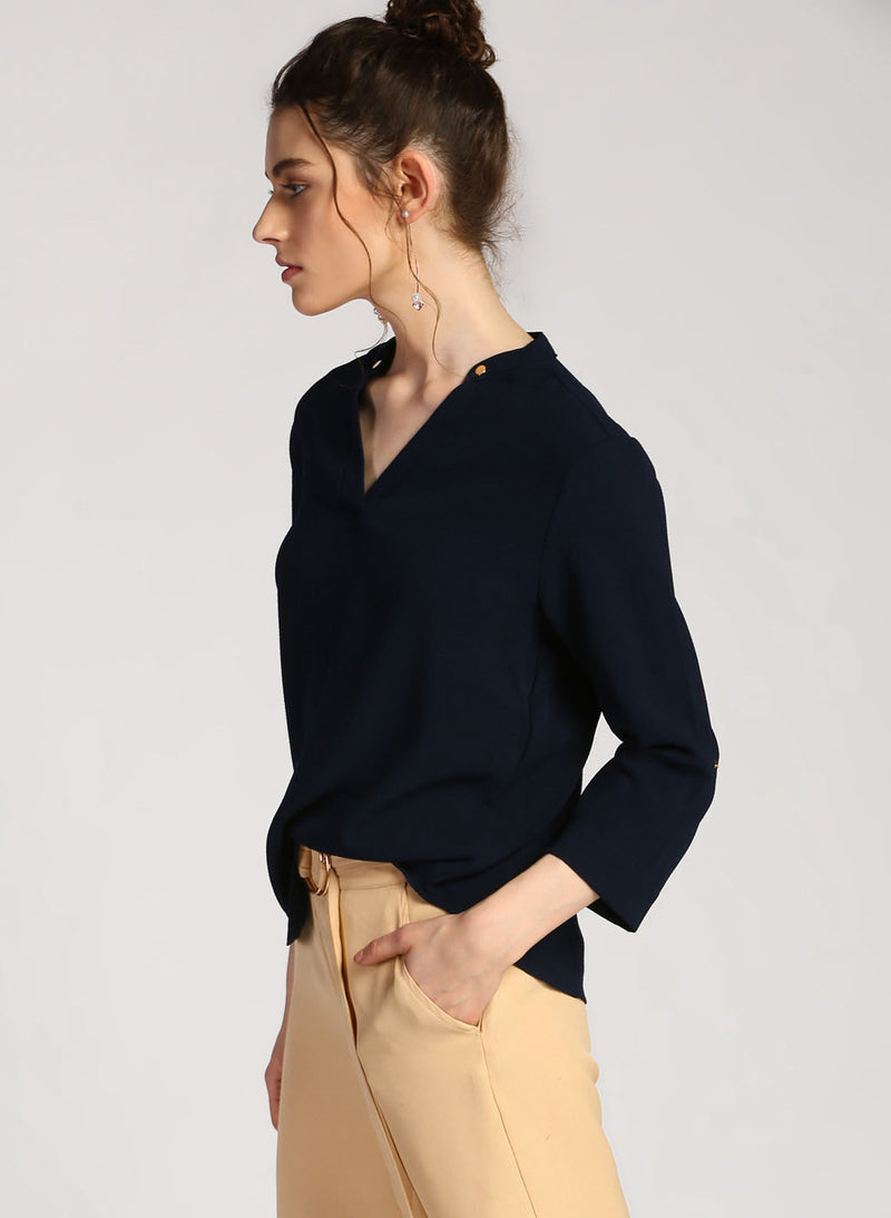 Alison V Neck Band Collar Shirt (Additional 20% OFF)