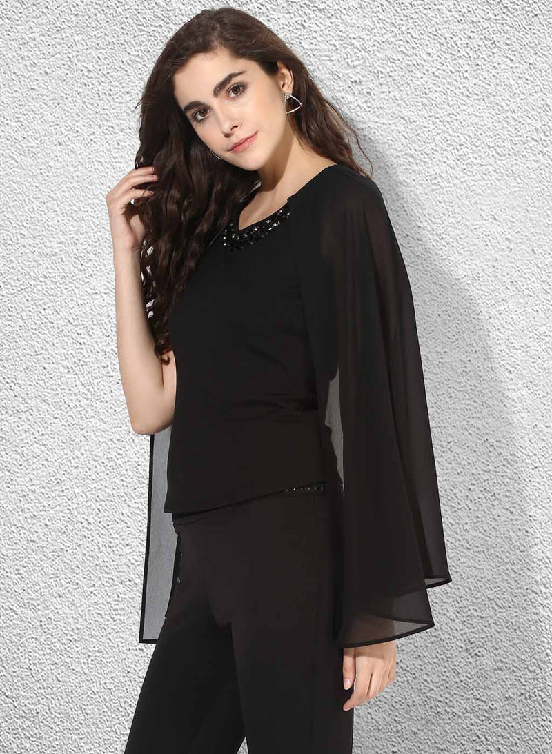 Embellished Neck Top With Cape Sleeves