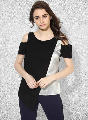 Cold-Shoulder Colour Block Top (Buy 2 or more Get 20% Off)