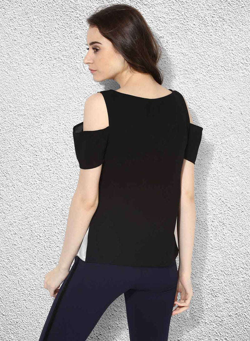 Cold-Shoulder Colour Block Top