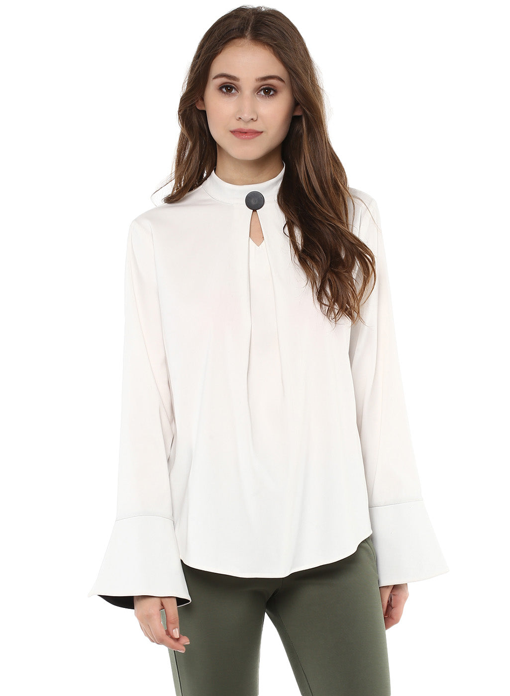 Top With Band Neck And Bell Sleeves (Buy 2 Get Extra 30% Off)