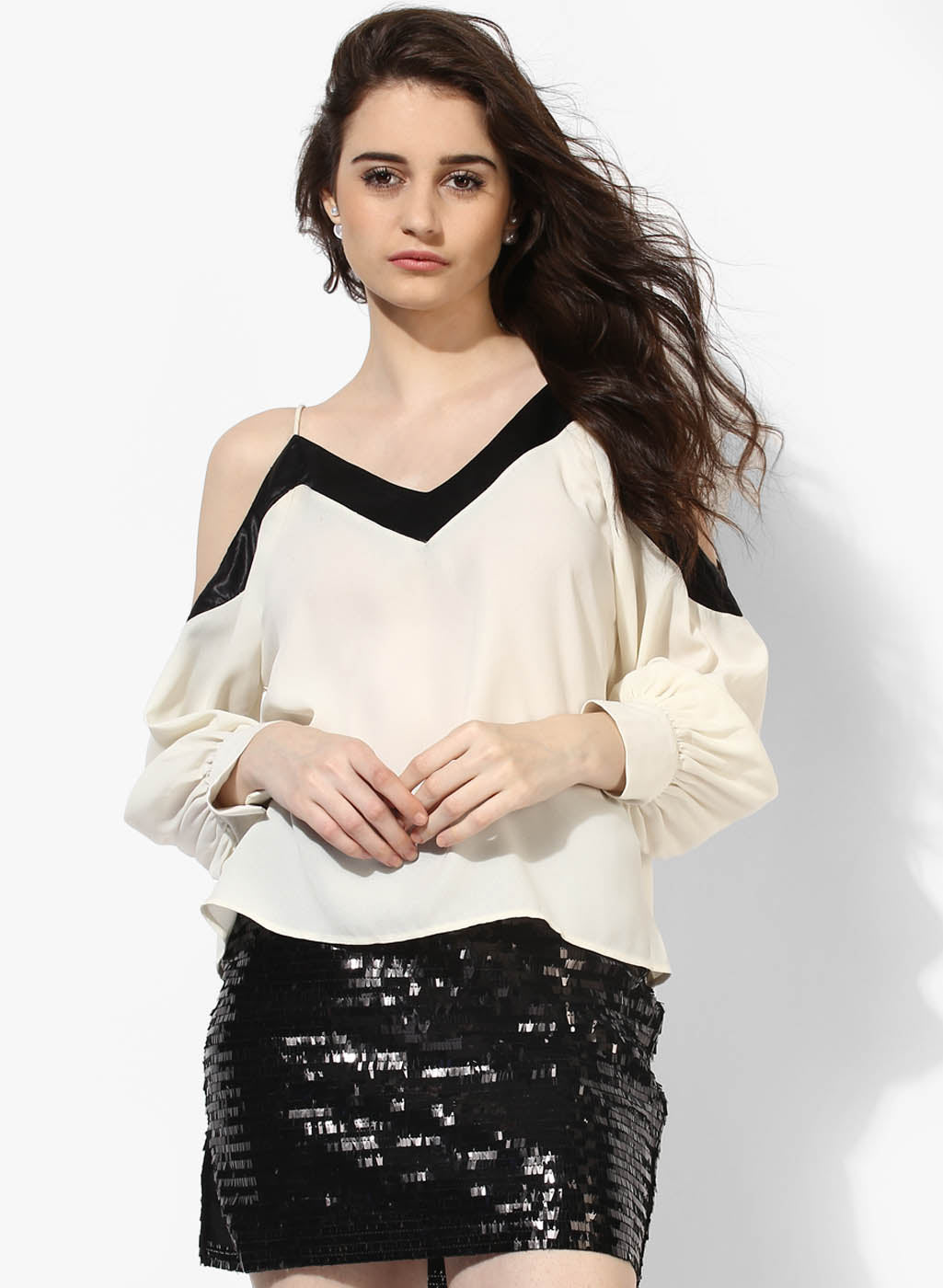 V Neck Cold Shoulder Top (Buy 2 or more Get 20% Off)