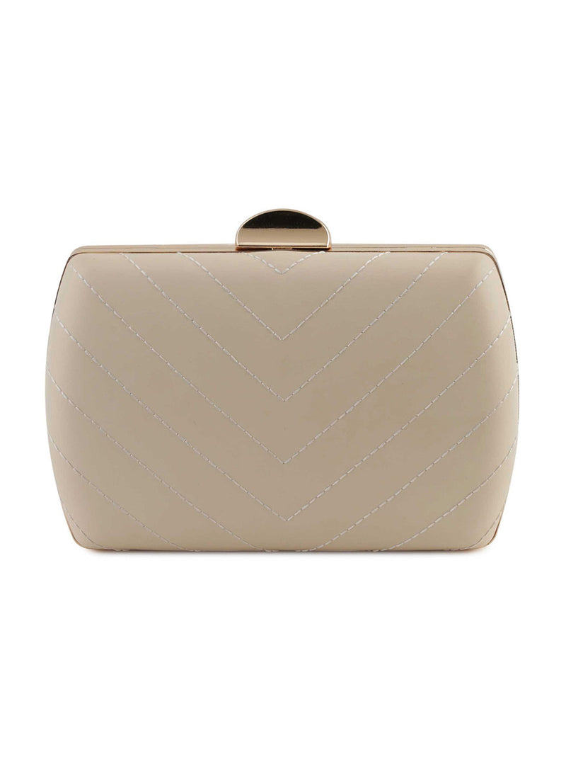 Gill Beige Faux Leather Clutch