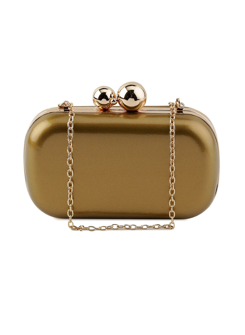 Jackie Dull Gold Clutch