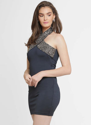 Caroline Criss Cross Embellished Mini Dress