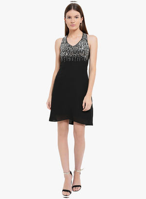 Embellished Criss Cross Back Mini Dress(Additional 20% on 2)