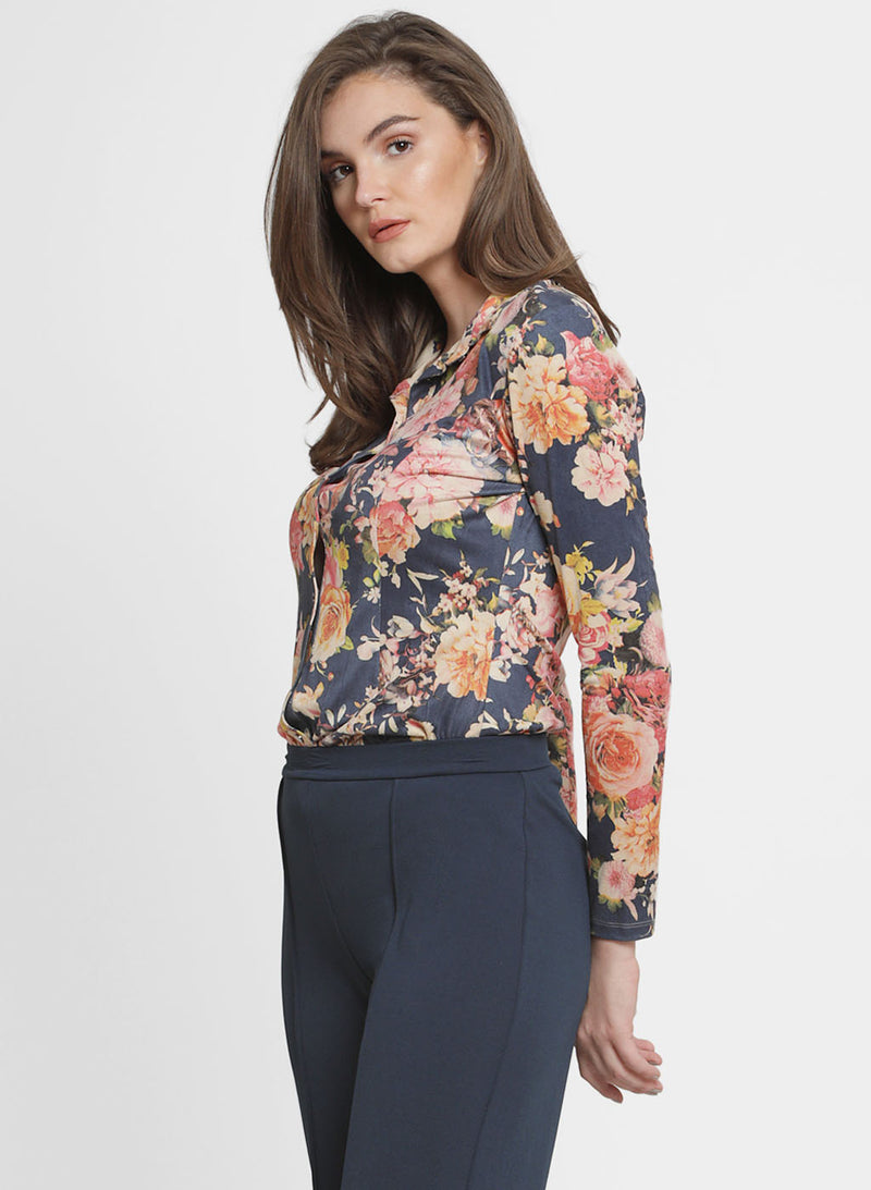 Melanie Printed Suede Collar Shirt (Additional 20% OFF)