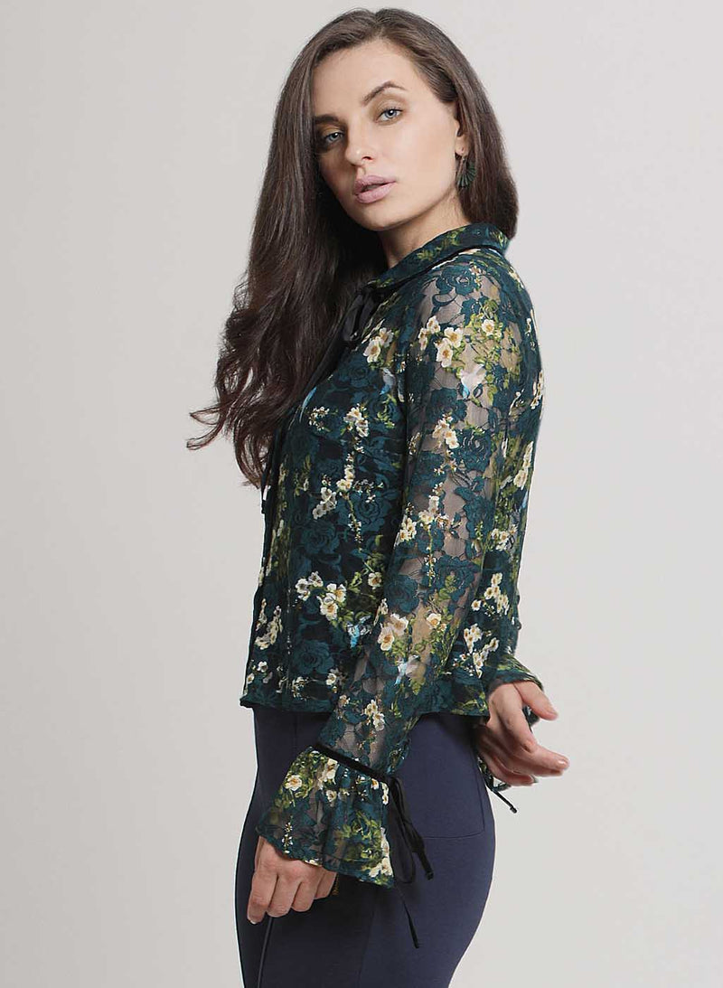 Claire Floral Stretch Lace Collar Shirt