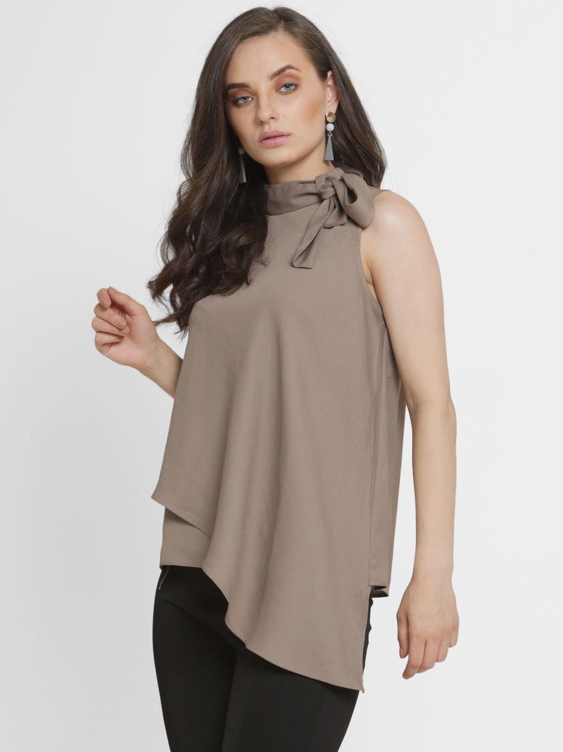 Clairpussy Bow Asymmetric Panel Top